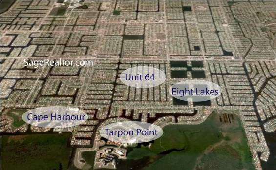 Cape Coral Real Estate - Aerial View of Unit 64 and Surrounding Neighborhoods