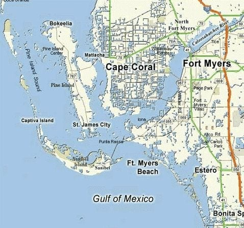 Map of Southwest Florida – Cape Coral, Fort Myers, Fort ...