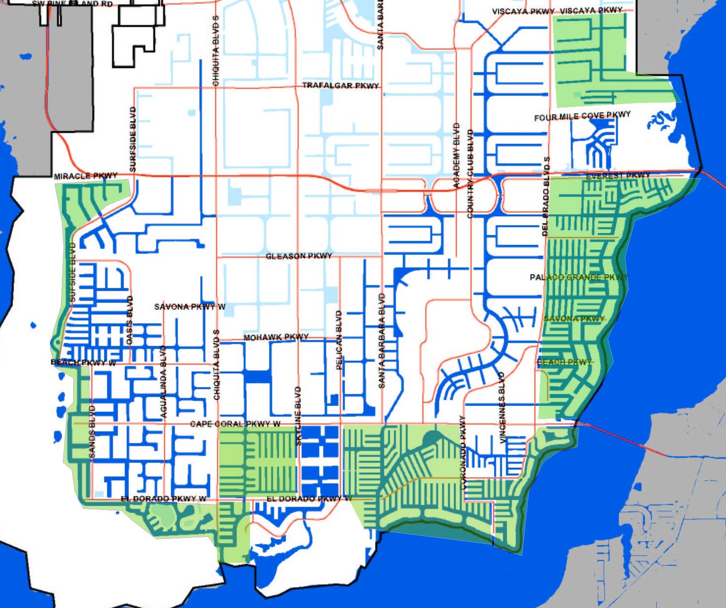 Cape Coral Canal Map | Southwest Florida - Dave Sage and ...